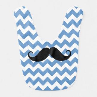 Bavoir Moustache bleue de zigzag de Chevron