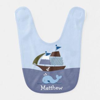 Bavoir nautique de bébé de baleine
