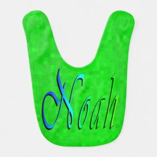 Bavoir Noé, logo nommé sur l'arrière - plan de vert de