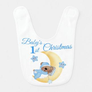 Bavoir Noël de garçon de Babys d'étoile de lune d'ours de
