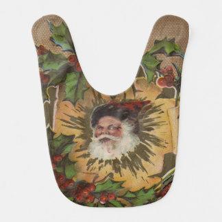Bavoir Old-fashioned vintage antique de Noël de Père Noël