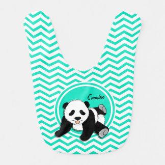 Bavoir Panda de bébé ; Aqua Chevron vert