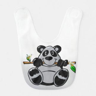 Bavoir Panda mignon de bébé mangeant le bambou
