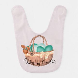 """Bavoir Panier de """"Joyeuses Pâques"""" des oeufs et du lapin"""