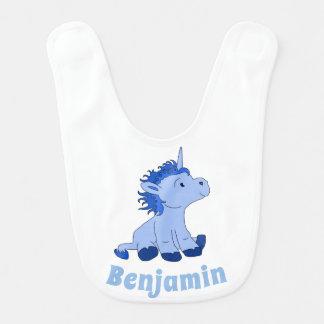 Bavoir Personalizable nommé bleu de petite licorne