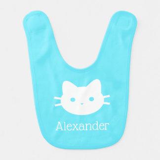 Bavoir personnalisé de bébé bleu de chat de Kitty