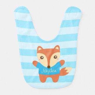 Bavoir Petit renard mignon dans le bleu, pour le bébé