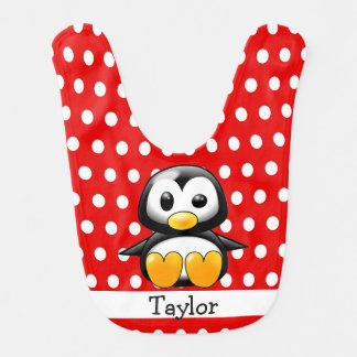Bavoir Point de polka rouge de pingouin drôle mignon fait