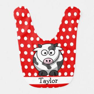 Bavoir Point de polka rouge de vache drôle mignonne faite