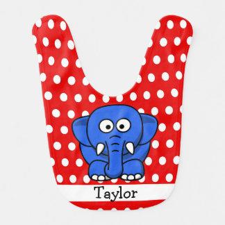 Bavoir Point de polka rouge d'éléphant drôle mignon fait