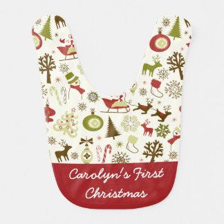 Bavoir Premières vacances de Noël du bébé personnalisé