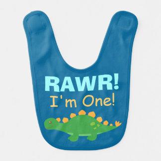Bavoir Rawr, j'ai un ans, dinosaure mignon pour des