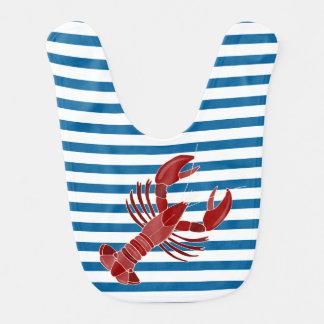 Bavoir Rayure horizontale bleue et blanche de homard