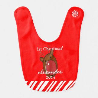 Bavoir Renne avec premier Noël du bébé rouge de nez