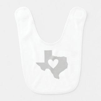 Bavoir Silhouette d'état du Texas de coeur