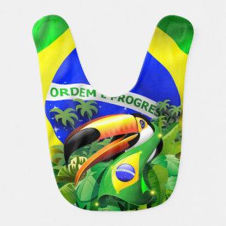 Bavoir Toucan de Toco avec le drapeau Baby_Bib du Brésil