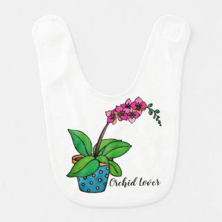 Bavoir Usine d'orchidée d'aquarelle dans le beau pot