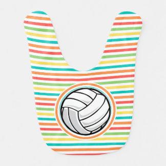 Bavoir Volleyball ; Rayures lumineuses d'arc-en-ciel