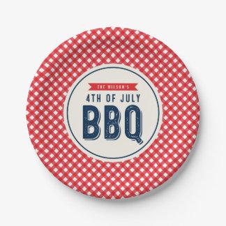 BBQ rouge de guingan et de bleu 4 juillet Assiettes En Papier