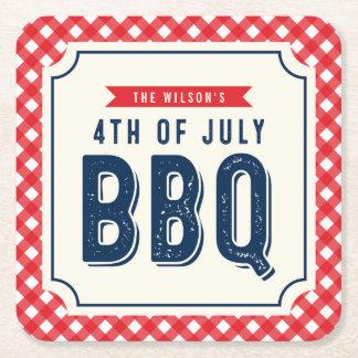 BBQ rouge de guingan et de bleu 4 juillet Dessous-de-verre Carré En Papier