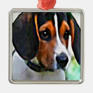 beagle ornement carré argenté