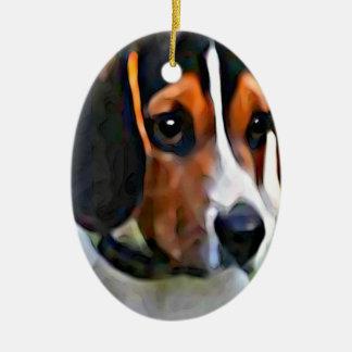 beagle ornement ovale en céramique