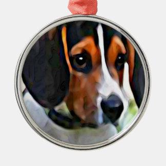 beagle ornement rond argenté