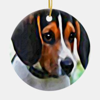 beagle ornement rond en céramique
