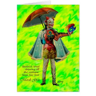 Béatrice et sa carte de costume de mardi gras