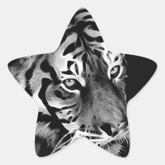 Beau blanc Afrique de noir de tigre Sticker Étoile