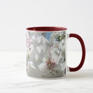 Beau blanc Rhodies de tasse de café bonjour