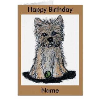 Beau Caïn Terrier avec la carte d'anniversaire de