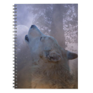 Beau carnet de loup et de lune
