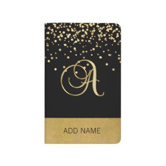 Beau carnet élégant d'or de noir de monogramme
