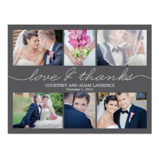 Beau carte de remerciements de mariage d'écriture