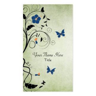 Beau carte de visite de fleurs et de papillons