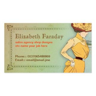 beau carte de visite vintage à la mode de dame