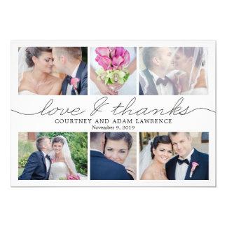 Beau carte photo de Merci de mariage d'écriture