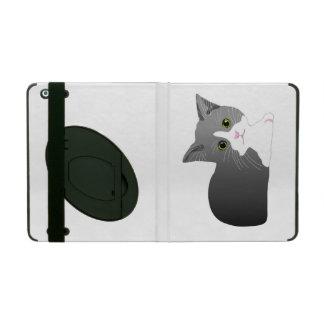 Beau chaton noir, gris et blanc étui iPad