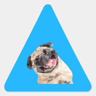 Beau chien de balais sticker triangulaire