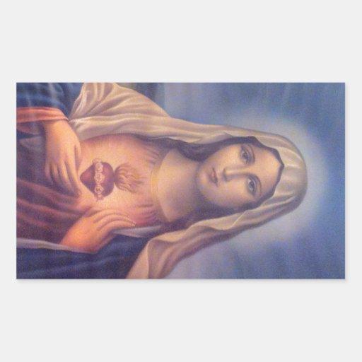 Beau coeur sacré religieux de Vierge Marie Sticker En Rectangle