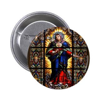 Beau coeur sacré religieux de Vierge Marie Badge Rond 5 Cm
