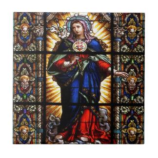 Beau coeur sacré religieux de Vierge Marie Petit Carreau Carré