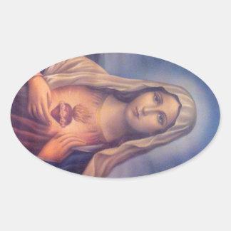 Beau coeur sacré religieux de Vierge Marie Sticker Ovale