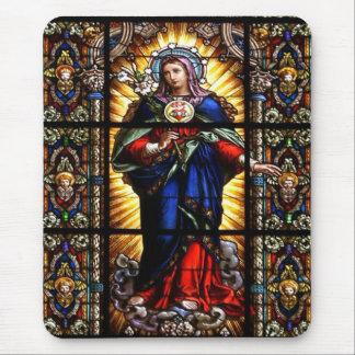 Beau coeur sacré religieux de Vierge Marie Tapis De Souris