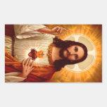 Beau coeur sacré religieux d'image de Jésus Stickers Rectangulaires