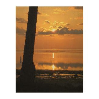Beau coucher du soleil, apaisement doux impressions sur bois