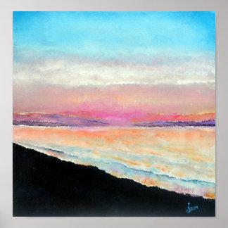 Beau coucher du soleil de plage peint aux pastels posters