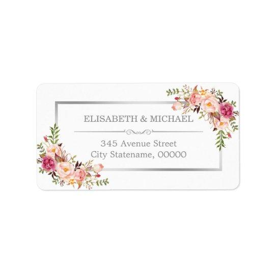 Beau décor floral chic élégant de gris argenté étiquettes d'adresse