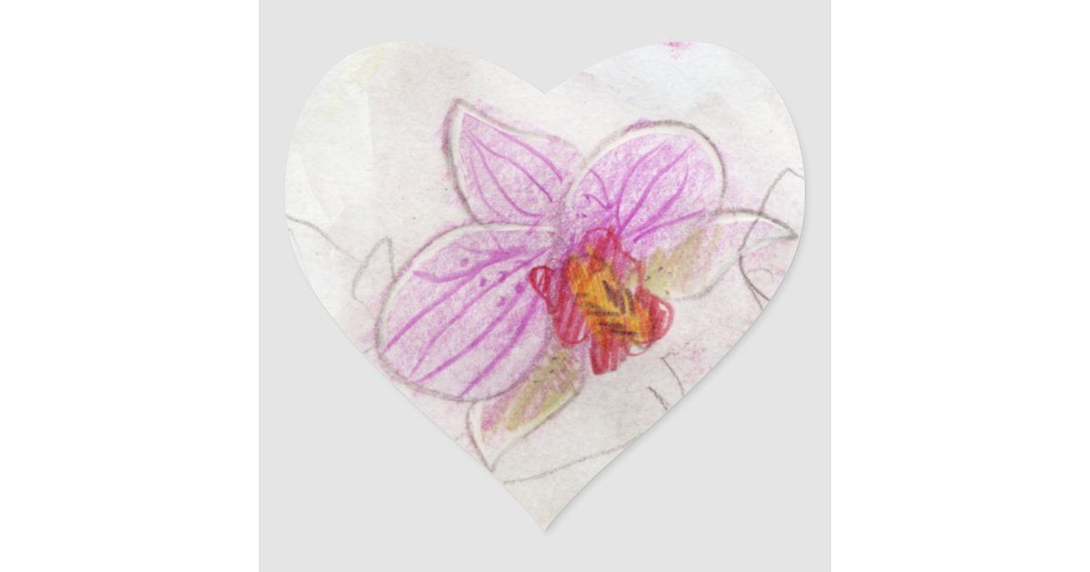 Beau dessin rose d 39 orchid e sticker c ur zazzle - Dessin d orchidee ...